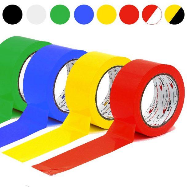 Cinta adhesiva para el marcaje de suelos y señalización de colores: rojo, amarillo, azul, verde, amarillo y negro, rojo y blanco