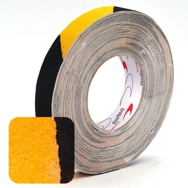 Cinta adhesiva antideslizante bicolor amarillo / negro para zonas de peligro