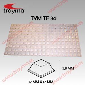 TYM TF34 TOP FIX - Tope Adhesivo de Protección Cuadrado - Transparente, Lamina (18.86€/lamina)