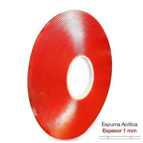 Cinta adhesiva de espuma acrílica transparente VHA, 1 mm de espesor