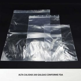 Bolsas plástico cierre zip transparentes para uso con alimentos