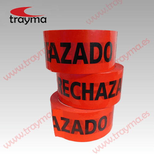 TYM RECHAZADO Cinta adhesiva PVC texto 'Rechazado' en color rojo