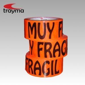 TYM 66120 Cinta adhesiva PVC texto 'Muy Frágil' en Naranja FLUOR