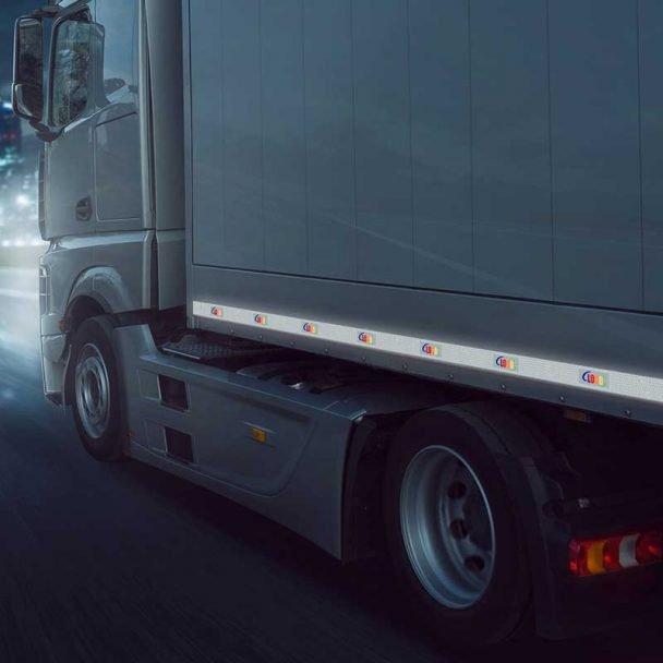 Cinta reflectante para camiones con logo de la empresa personalizado