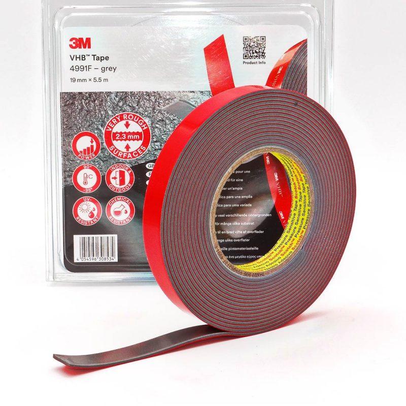 Cinta adhesiva doblecara espuma acrílica VHB 3M 4991F Gris