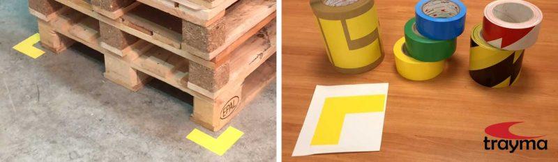 Esquineros adhesivos para suelo marcaje de palets y zonas de almacenamiento