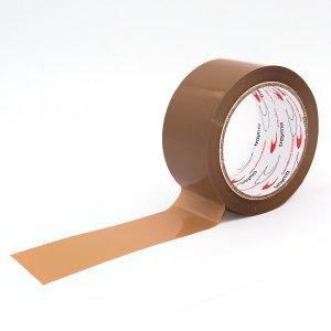 Precinto de polipropileno para embalaje con adhesivo caucho color marrón desplegado