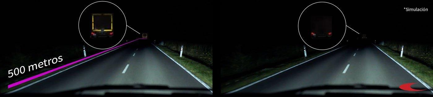 Camiones marcados con cinta adhesiva reflectante de seguridad. Comparativa