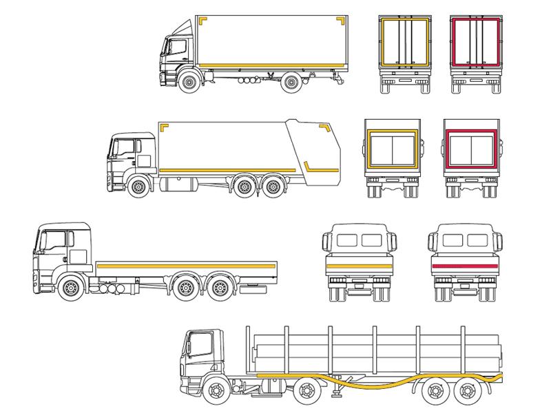 Ejemplos Marcaje Reflectante de Camiones y Remolques