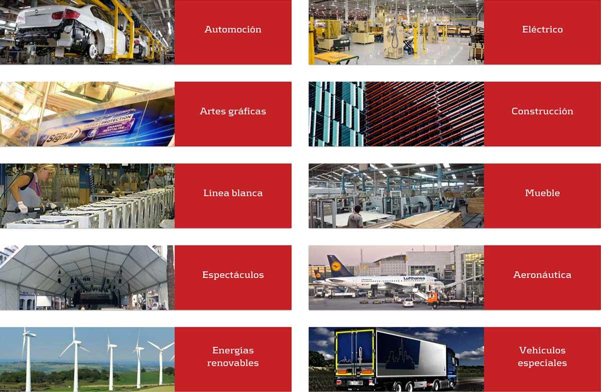 Sectores y aplicaciones del adhesivo