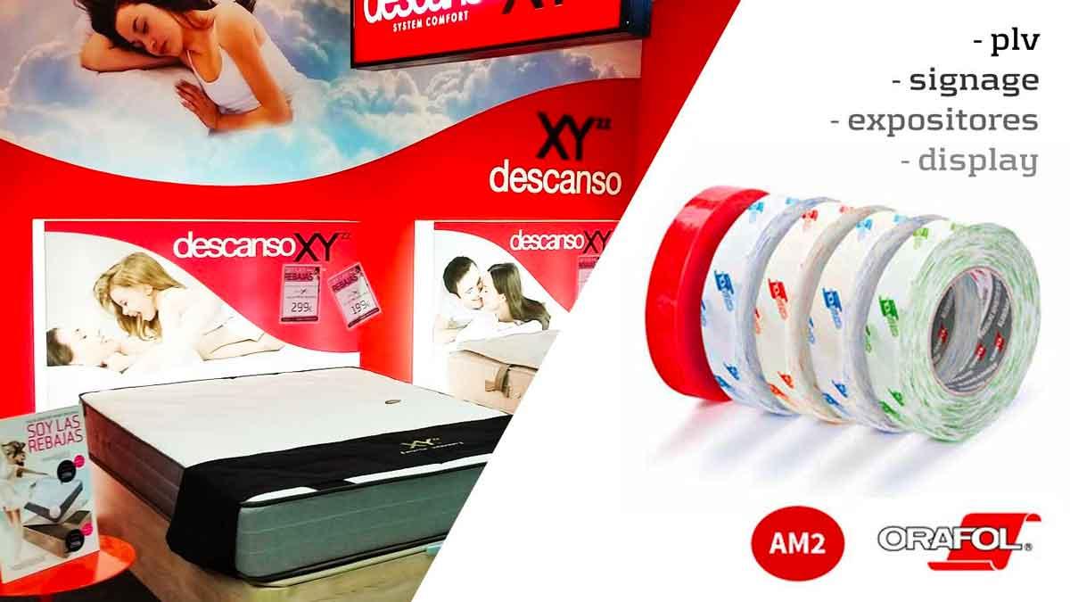 Cinta adhesiva para el pegado de publicidad en el lugar de venta (PLV)