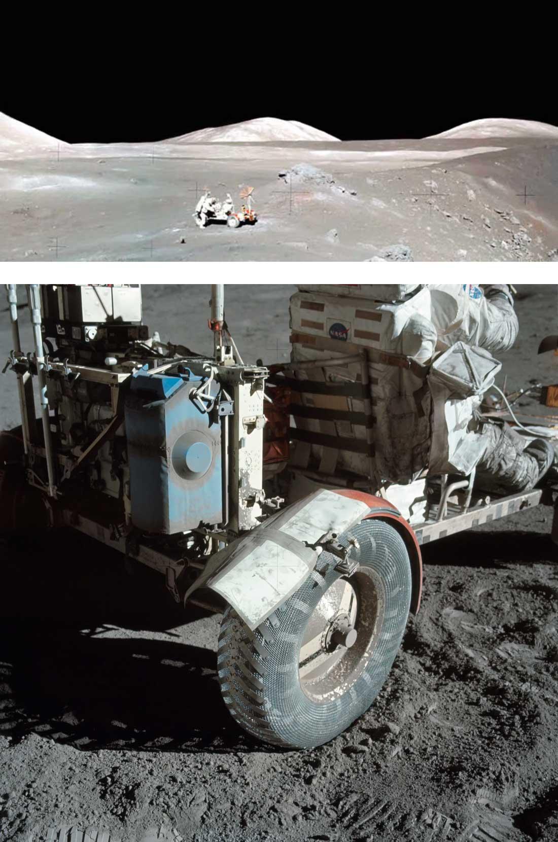 Reparación del guardabarros con cinta americana y un mapa, durante el paseo lunar en un rover de la misión apolo 17