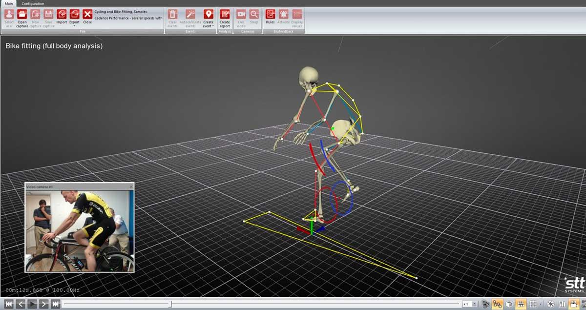 Captura en 3D del movimiento de la biomecánica del ciclista