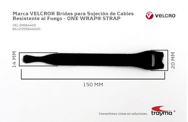 Dimensiones Bridas VELCRO ONE WRAP STRAP FRT