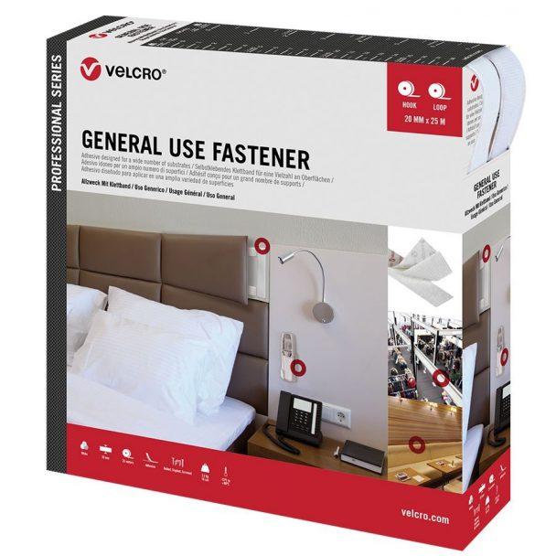 Cierre marca Velcro para usos generales, cinta doble cara gancho y bucle con adhesivo color blanco