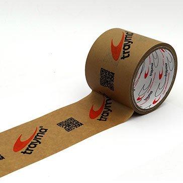 Cinta adhesiva impresa personalizada con logotipos y textos en papel kraft ecológico