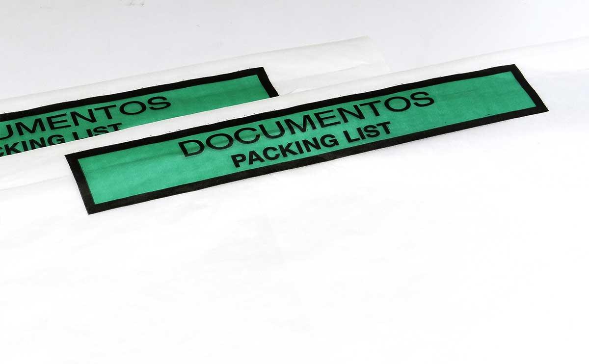 Bolsas portadocumentos adhesivos para packing list ecologicos de papel con mensaje documentación en verde