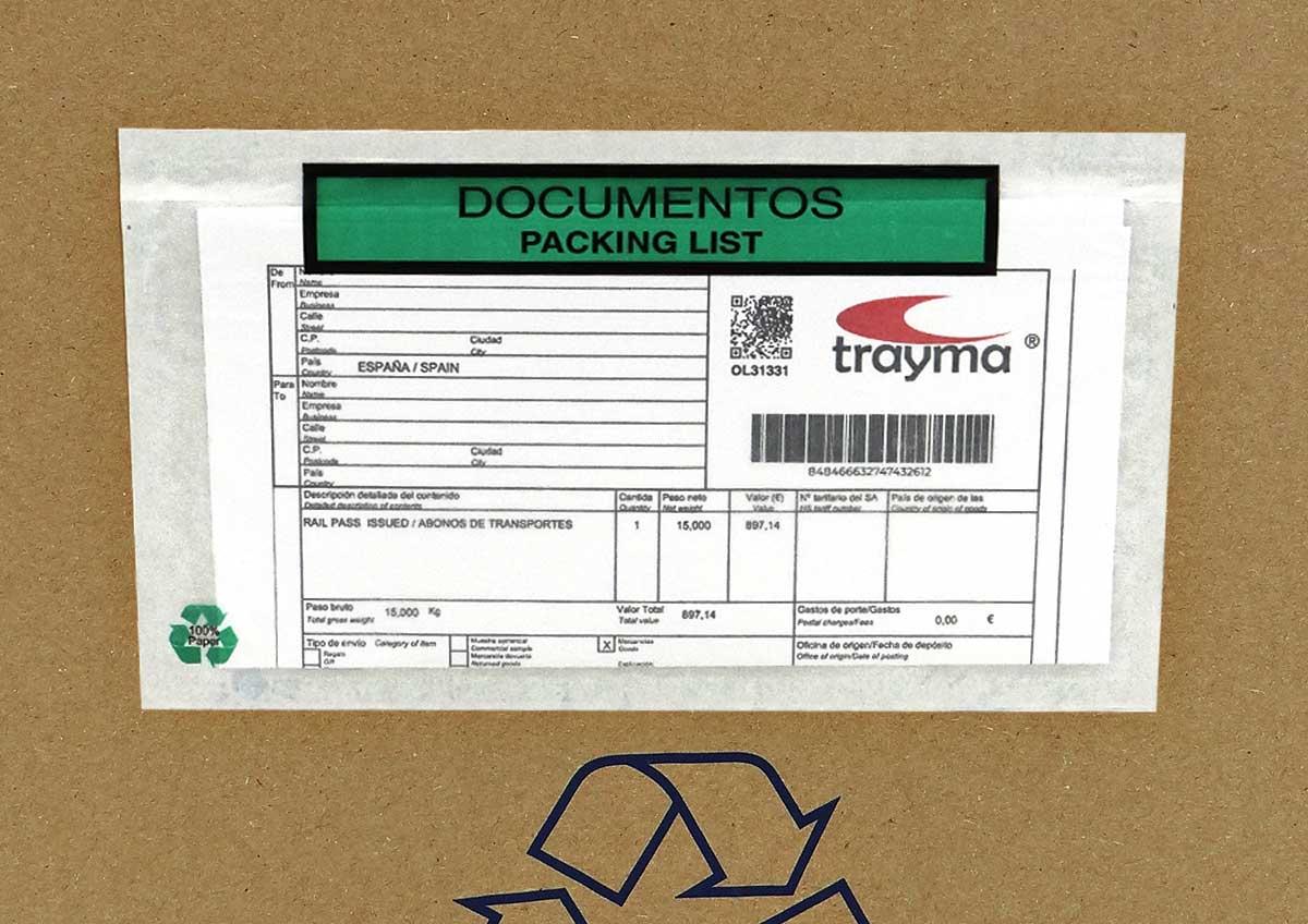 Sobres portadocumentos con adhesivo para adjuntar albaranes, documentos, etc.