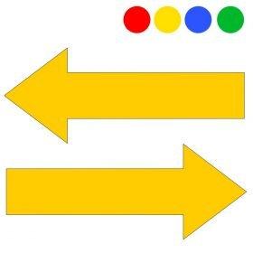 Flechas adhesivas para la señalización y marcaje de suelos. Varios colores: amarillo, rojo, azul, verde