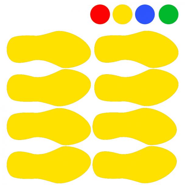 Huellas adhesivas para la señalización de suelos