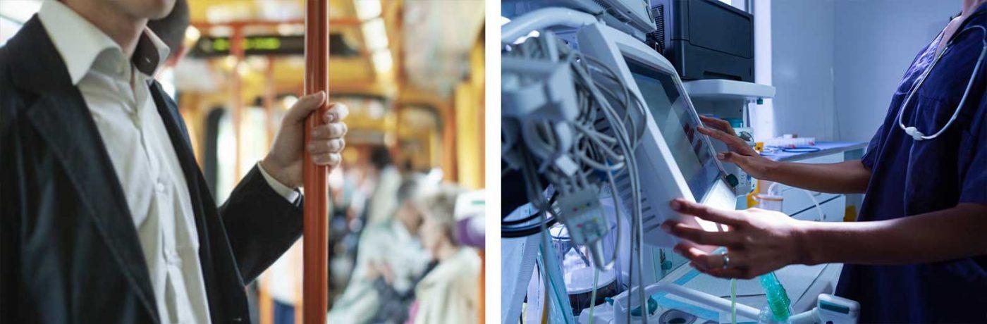 Films para la protección de manillas y placas de puertas, barandillas, etc. para la protección contra bacterias y virus