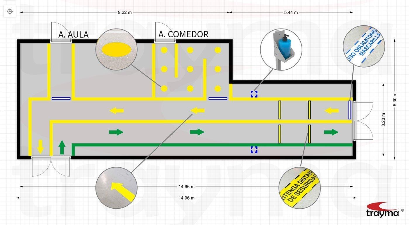 Señalización y marcaje de suelos de colegios covid19