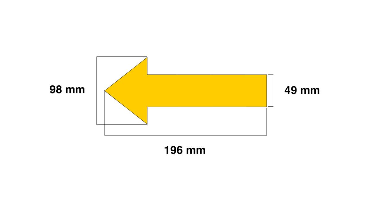 Dimensiones de la señalización para suelos