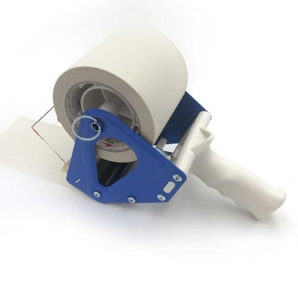 Precintadora manual cinta adhesiva 50 mm embalaje metal, vista lateral