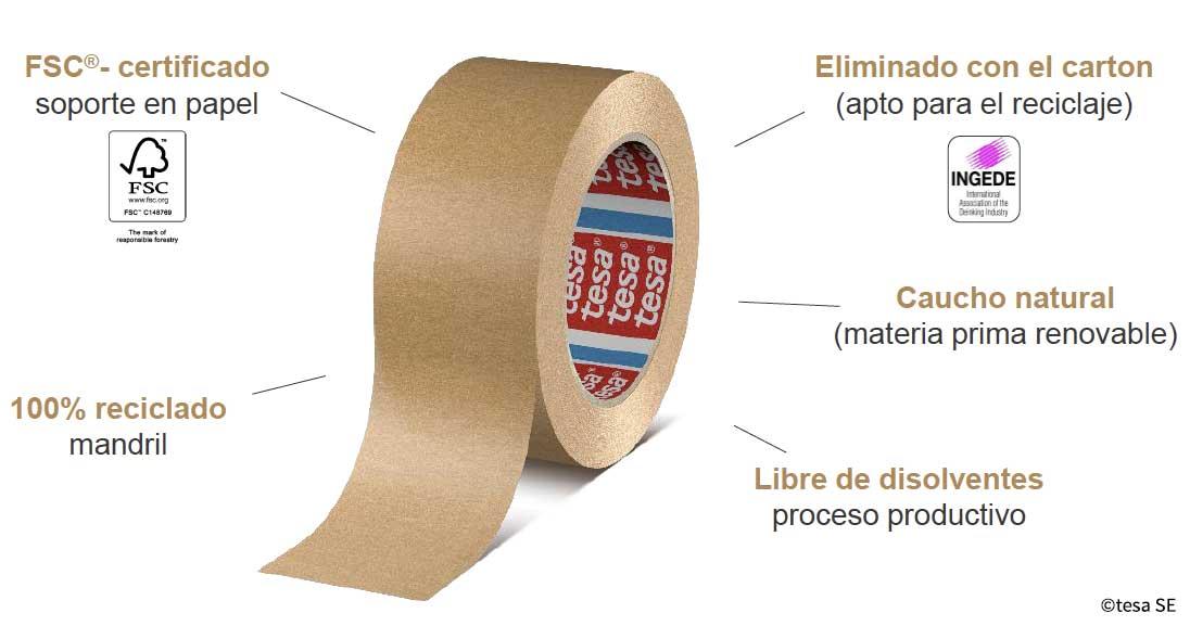 Cinta adhesiva ecológica de papel kraft certificada tesa 4713