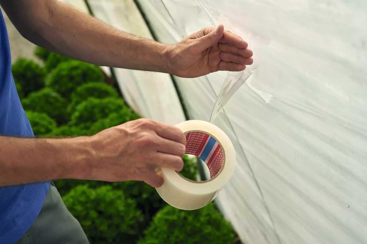 Cinta adhesiva tesa 4646 para reparar invernaderos, cómo reparar el invernadero con cinta