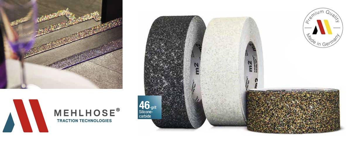 Cinta adhesiva antideslizante Mehlhose M2 GlitterGrip - Brillantina para hoteles, restaurantes, centros comerciales, aeropuertos, etc.