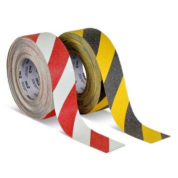 Cinta adhesiva antideslizante franjas de peligro amarillo negro o rojo y blanco