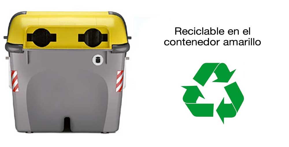 Envíos courier reciclaje contenedor amarillo