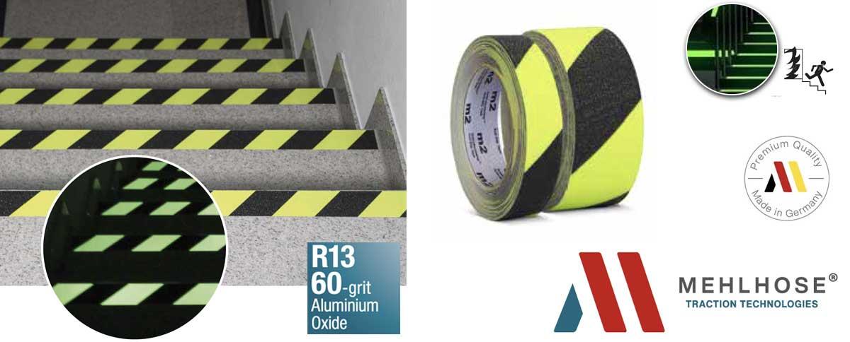 Cinta antideslizante fluorescente y fotoluminiscente para escaleras de emergencia y vías de evacuación