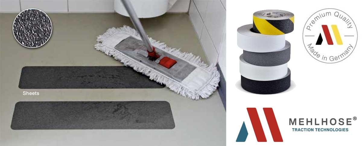 Mehlhose Bandas antideslizamiento para prevenir resbalones en baños, aseos, duchas, vestuarios, gimnasios e instalaciones deportivas