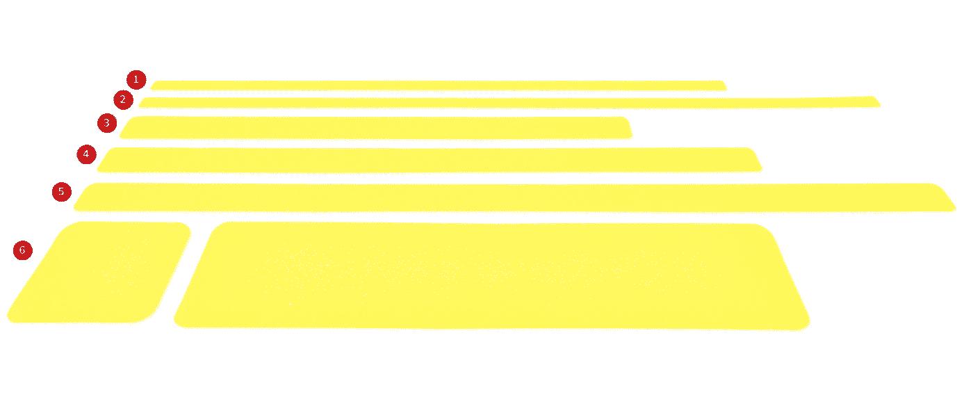 Bandas color fluor antideslizamiento