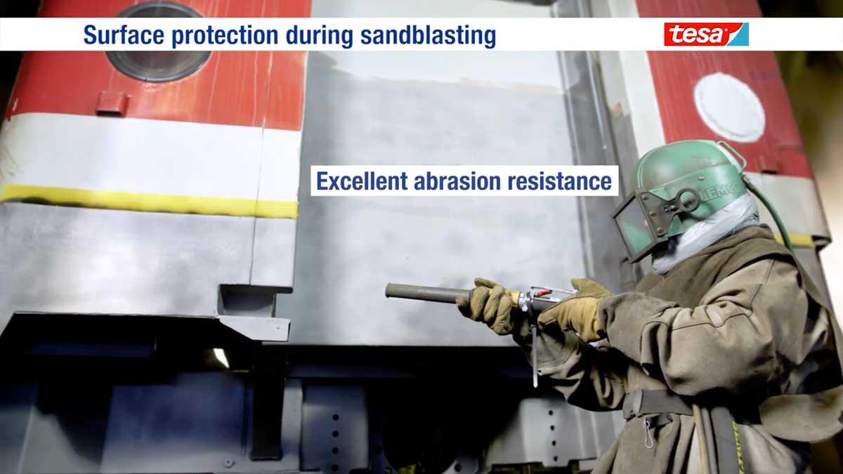 Cinta adhesiva para la protección y enmascarado en procesos de granallado / arenado Tesaband